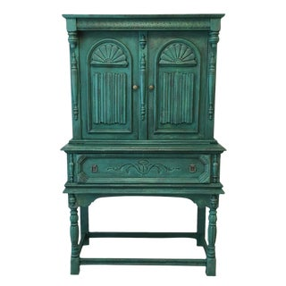 Distressed Teal Victorian Hutch