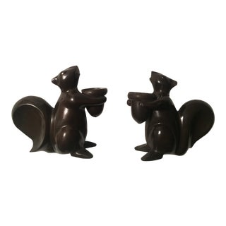 Restoration Hardware Cast Brass Squirrel Candle Holders - A Pair