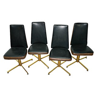 Vintage 1970 Black & Gold Swivel Chairs - Set of 4