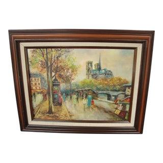 Vintage 1960s Oil on Board Paris Scene
