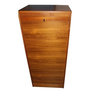 Danish Teak Filing Cabinet With Tambour Door & Locking Key