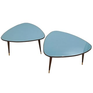 Osvlado Borsani Pair of Triangular Cocktail Tables in Stained Mahogany and Blue Glass