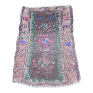 Vintage Turkish Brown Wool Pile Rug - 1′8″ × 2′6″
