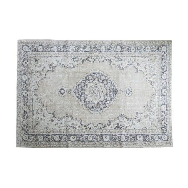 "Distressed Oushak Carpet - 7'3"" x 10'4"" - Image 1 of 4"