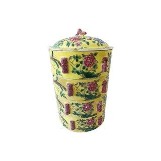 Old Famille Jaune Porcelain Carrier, 5 Pcs