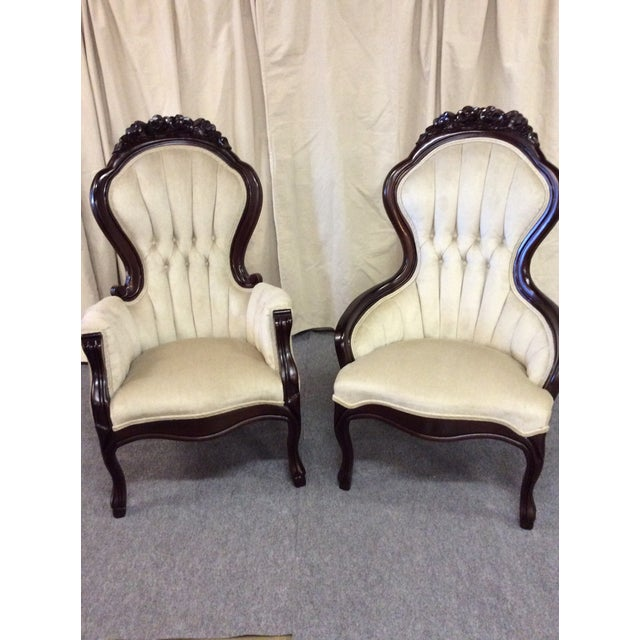 Wooden Victorian Chairs - Pair - Image 3 of 11