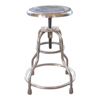 "Vintage ""Shampaine"" Metal Medical Silver Adjustable Stool"