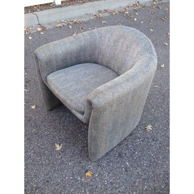 Image of Vintage 1980s Gray Snakeskin Print Barrel Chair