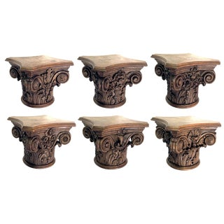 A Finely Carved Set of 6 English Oak Corinthian Capitals