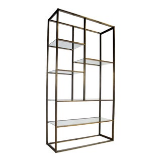 Milo Baughman Attributed Bronze & Glass Etagere