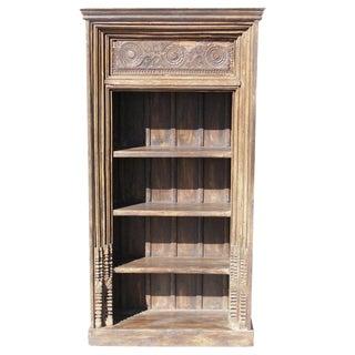 Floral Carved Teak Bookcase