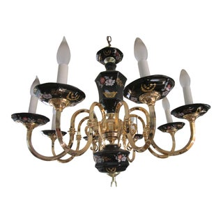 Vintage Asian Style Brass & Black Porcelain 8 Arm Chandelier