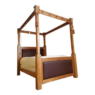 Custom Made Mission Style Cross Cut Oak Queen Size, Tall Four Poster Bed Frame, Head & Foot Boards in Cordovan Leather With Nail Head Trim