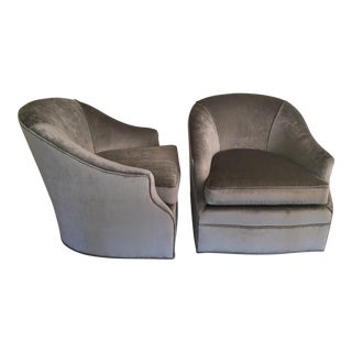 Gray Velvet Swivel Club Chairs- a Pair