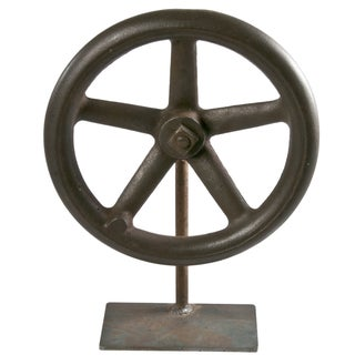 Vintage Industrial Wheel on Iron Stand