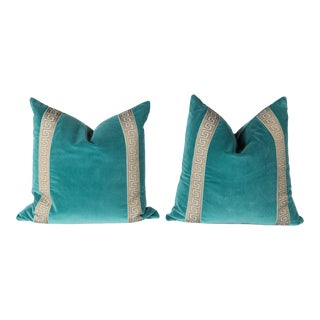 Teal Velvet Greek Key Pillows- A Pair