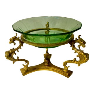 Italian Brass Bowl Stand with Green Uranium Glass Bowl