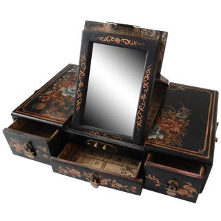 Chinese Leather & Wood Jewelry Box