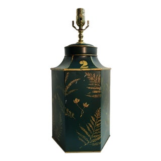 English Export Dark Green Tea Canister Lamp