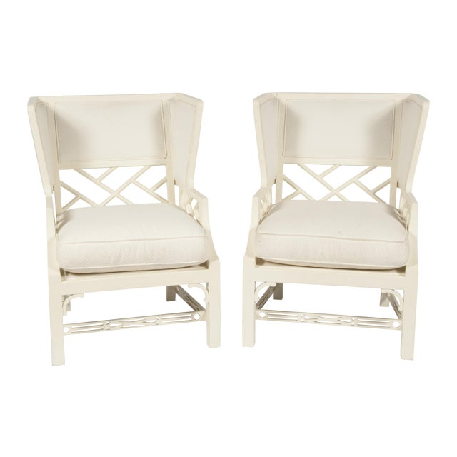 Image of White George III-Style Wing Chairs - A Pair
