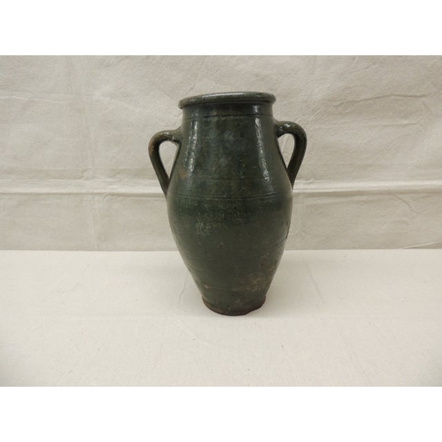 Image of Antique French Green Terracotta Confit Pot