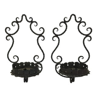 Iron Hanging Candlestick Holders - A Pair