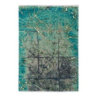 "Kafkaz Peshawar Impressionist Rosalie Teal/Green Wool & Viscouse Rug - 4' X 5'6"""