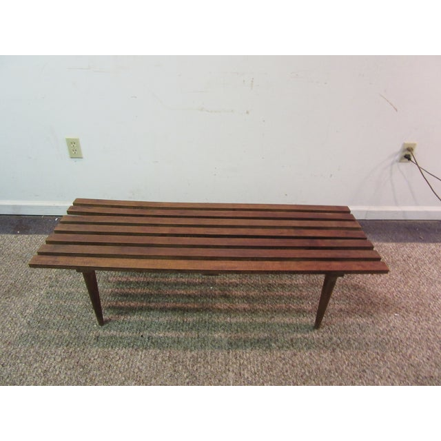 Danish Modern Walnut Slat Bench Coffee Table - Image 2 of 11