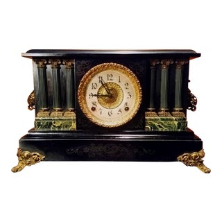Early 1900's Antique Ingraham 8 Day Black Striking Mantle Clock