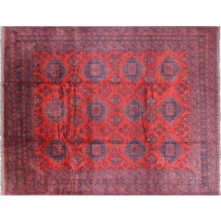 "Oriental Tribal Hand Knotted Red Wool Rug- 9' 9"" X 12' 4"""