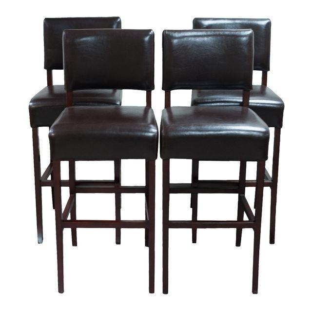 Palacek Brown Leather Bar Stools Set Of 4 Chairish