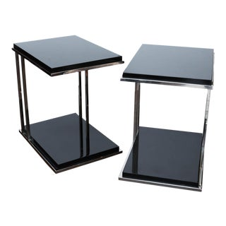 Ebony Lacquer and Chrome Two-Tiered End Tables - A Pair