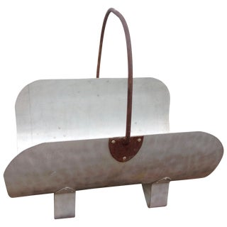 Stainless Steel Curved Fire Log Holder With Handle