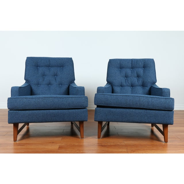 Mid-Century Blue Tufted Lounge Chairs - A Pair - Image 2 of 7