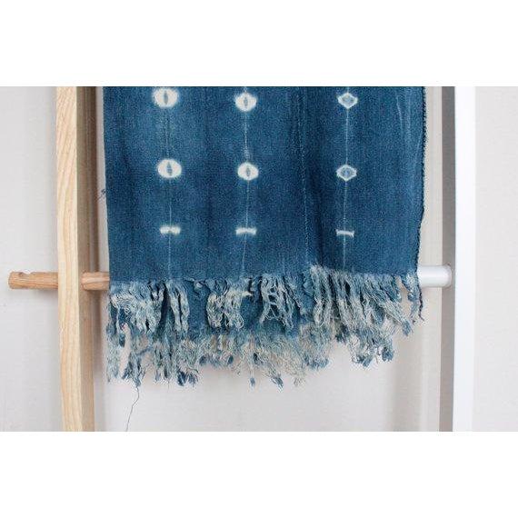 African Mud Cloth Indigo Shibori Throw Blanket - Image 4 of 6