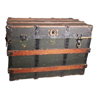 Vintage Victorian Wood & Metal Black Steamer Trunk