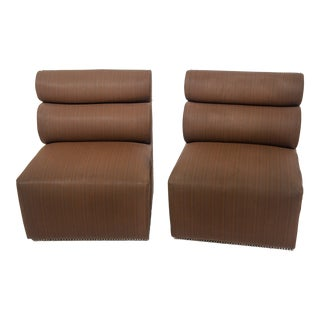 Mid-Century Brown Slipper Chairs - A Pair