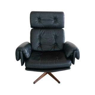 Mid Century Danish Easy Chair in Black Leather