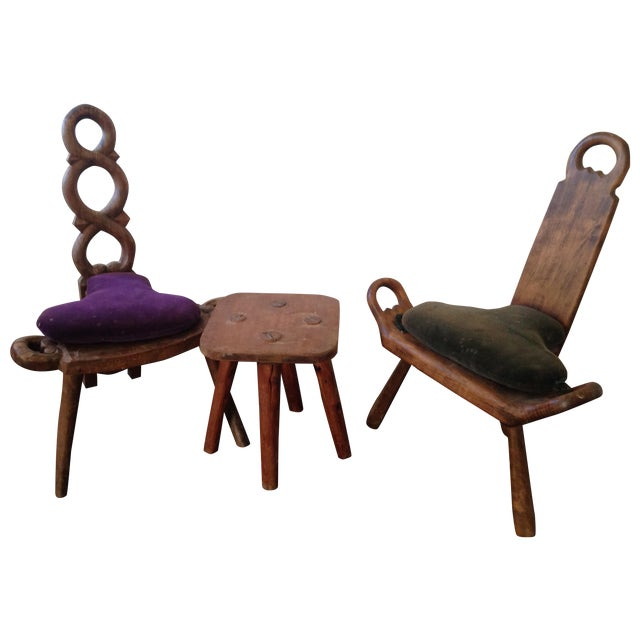 Image of Primitive Carved Chairs & Stool - Set of 3