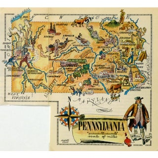 Vintage Pennsylvania Pictorial Map 1946