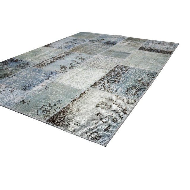 """Overdyed Gray Patchwork Rug- 4' 9"""" X 6' 8"""" - Image 2 of 2"""