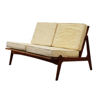 Danish Modern Walnut Frame Slipper Settee