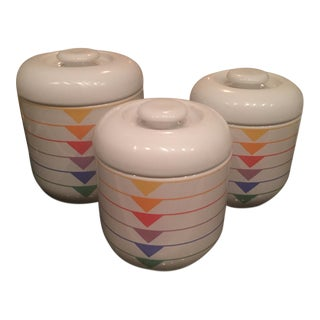 1980s Rainbow Ceramic Canisters - Set of 3