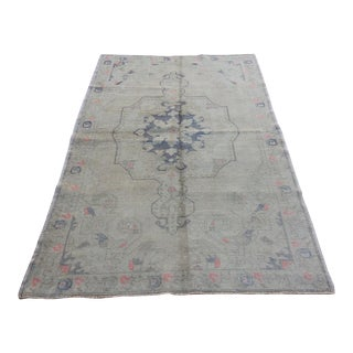Mid 20th C. Vintage Antique Tribal Oushak Neutral Soft Hand Knotted Turkish Rug - 4'7 X 7'2
