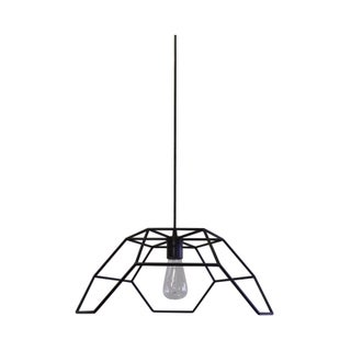 Bronze and Steel Hexa-Pyramid Pendant Light