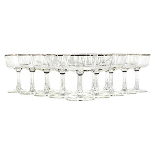 French Silver Rim Glass Coupes, Set of 14