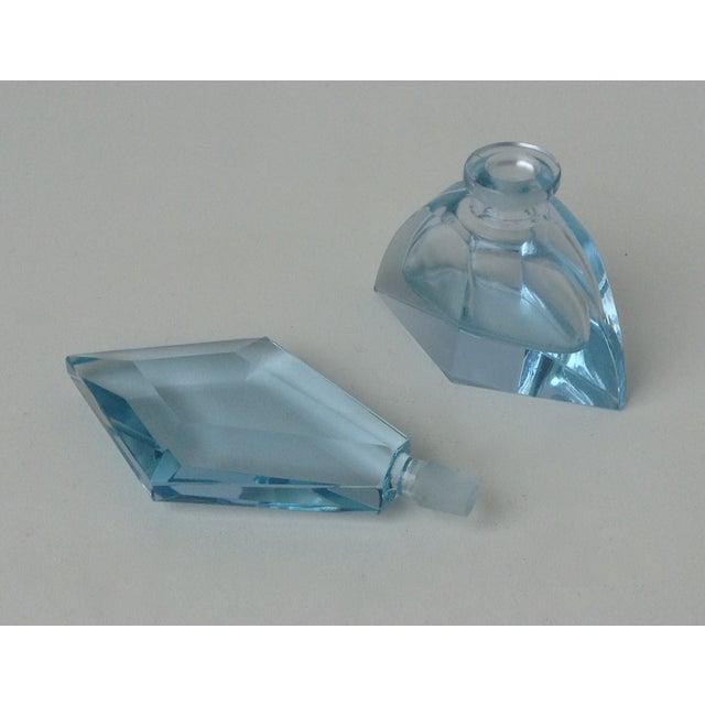 Czechoslovakian Light Blue Faceted Perfume Bottle - Image 7 of 11