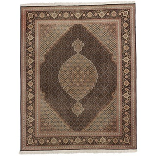 RugsinDallas Vintage Hand Knotted Wool and Silk Persian Tabriz Rug - 5′ × 6′2″