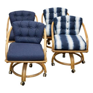 Rattan Rolling Dining Chairs - Set of 4