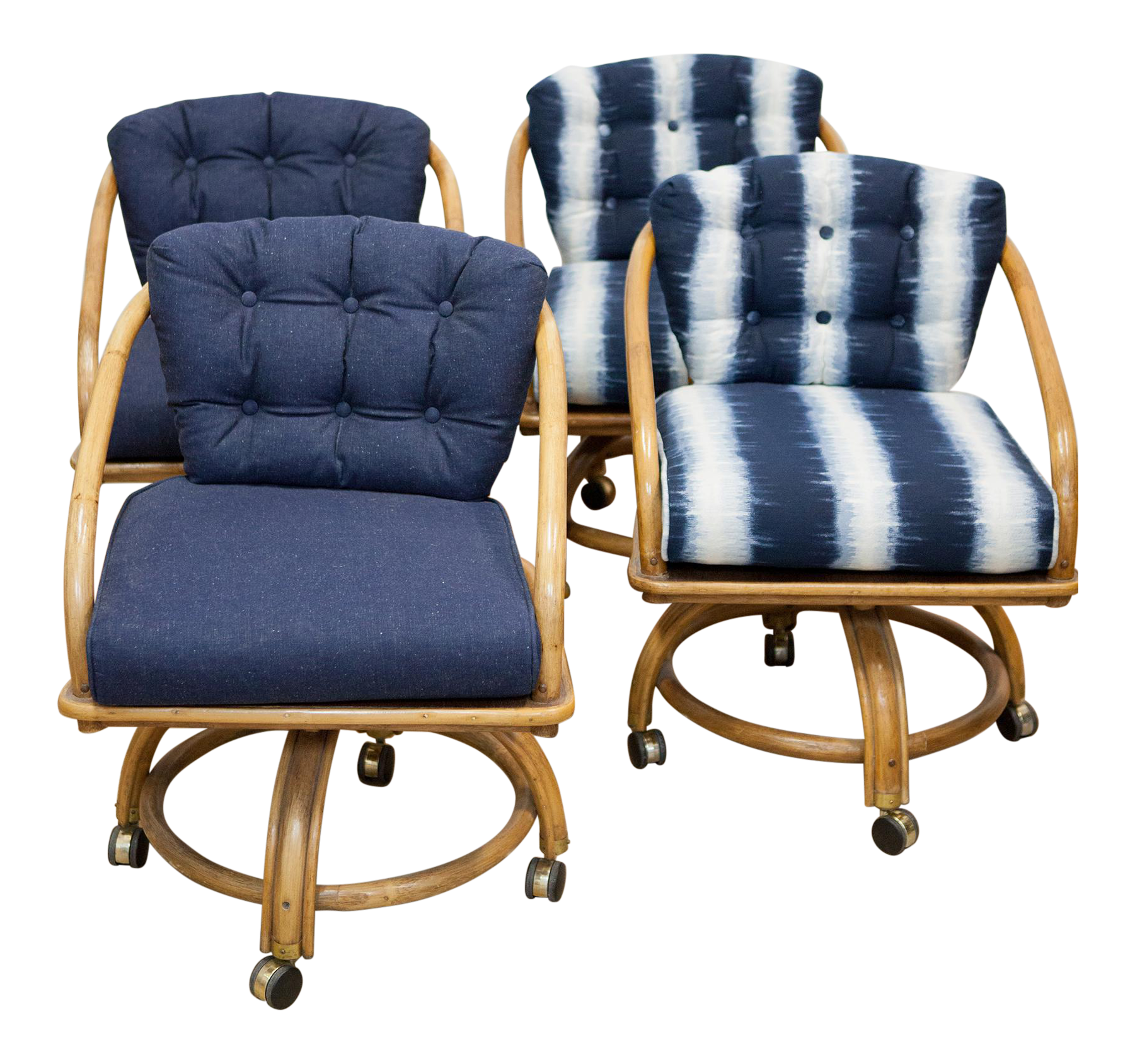 rattan rolling dining chairs set of 4